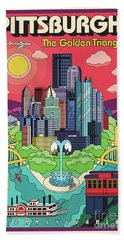 Pittsburgh Pop Art Travel Poster Beach Sheet