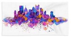 Pittsburgh Skyline Beach Towel by Marian Voicu