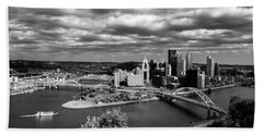 Pittsburgh Skyline With Boat Beach Towel by Michelle Joseph-Long