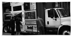 Pizza Oven Truck - Chicago - Monochrome Beach Towel by Frank J Casella