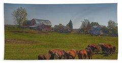 1014 - Plain Road Farm And Cows I Beach Towel