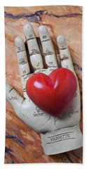 Plam Reader Hand Holding Red Stone Heart Beach Towel