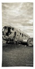 Beach Towel featuring the photograph Plane Crash Iceland by Edward Fielding
