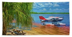 Beach Towel featuring the photograph Plane On The Lake by Lewis Mann