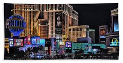 Planet Hollywood And Paris At Las Vegas Beach Towel by Walt Foegelle
