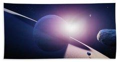 Planet Saturn Sunrise Beach Towel