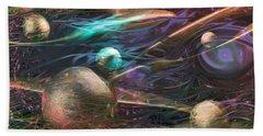 Beach Towel featuring the digital art Planetary Chaos by Linda Sannuti