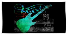 Beach Sheet featuring the digital art Play 4 by Guitar Wacky