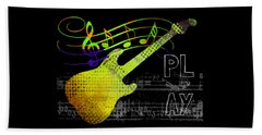 Beach Towel featuring the digital art Play 2 by Guitar Wacky