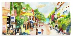Playa Del Carmen Mexico Shops Beach Towel