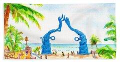 Playa Del Carmen Portal Maya Statue Beach Towel