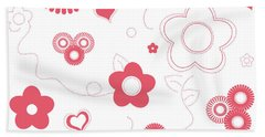 Playful Flower Background Beach Towel by Serena King