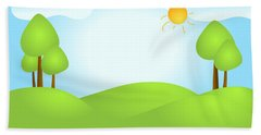 Playful Kid's Spring Backdrop Beach Towel by Serena King