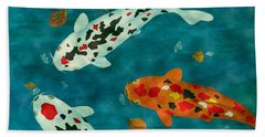 Playful Koi Fishes Original Acrylic Painting Beach Sheet