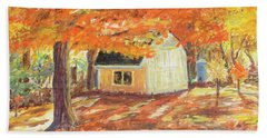 Playhouse In Autumn Beach Towel by Carol L Miller