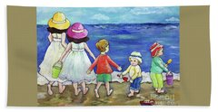 Beach Towel featuring the painting Playing At The Seashore by Rosemary Aubut