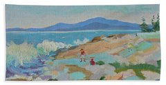 Beach Sheet featuring the painting Playing On Schoodic Rocks by Francine Frank