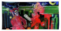 Playing For Time - Cityscape - Original Painting Beach Towel