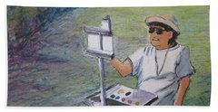 Beach Towel featuring the painting Plein-air Painter Bj by Gretchen Allen
