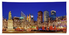 Beach Towel featuring the photograph Plein At Blue Hour - The Hague by Barry O Carroll