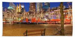 Beach Towel featuring the photograph Plein Square At Night - The Hague by Barry O Carroll