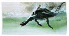 Plesiosaurus Beach Towel by William Francis Phillipps
