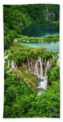 Plitvice Lakes National Park - A Heavenly Crystal Clear Waterfall Vista, Croatia Beach Towel