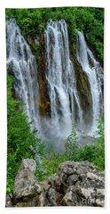 Plitvice Lakes Waterfall - A Balkan Wonder In Croatia Beach Sheet