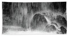 Plitvice Waterfall Black And White Closeup - Plitivice Lakes National Park, Croatia Beach Towel