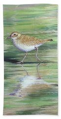 Plover Reflections Beach Towel by Tish Wynne