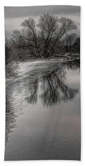 Plover River Black And White Winter Reflections Beach Towel