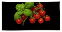 Beach Towel featuring the photograph Plum Cherry Tomatoes Basil by David French