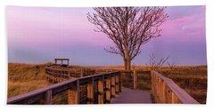 Plum Island Boardwalk With Tree Beach Towel
