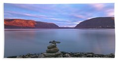 Plum  Point Rock Cairn At Sunset Beach Towel by Angelo Marcialis