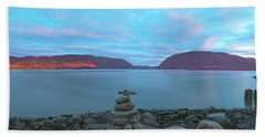 Plum Point Sunset Panorama Beach Sheet by Angelo Marcialis