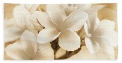 Plumerias In Cream And Brown Beach Sheet