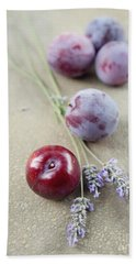 Beach Towel featuring the photograph Plums And Lavender by Cindy Garber Iverson