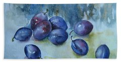 Beach Towel featuring the painting Plums by Elena Oleniuc