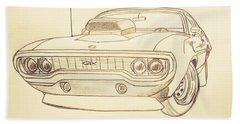 Plymouth Gtx American Muscle Car - Antique  Beach Towel