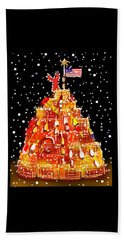 Beach Towel featuring the painting Plymouth Lobster Trap Tree by Jean Pacheco Ravinski