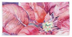 Beach Towel featuring the painting Poinsettia Glory by Mary Haley-Rocks