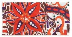 Poinsettia Power Beach Towel