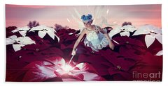 Beach Towel featuring the digital art Poinsettia Snow Fairy by Methune Hively
