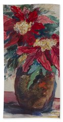 Poinsettias In A Brown Vase Beach Sheet