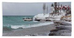 Winter At Point Betsie Lighthouse Beach Towel