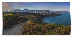 Point Dume Sunset Panorama Beach Towel