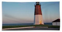 Beach Towel featuring the photograph Point Judith Lighthouse Rhode Island by Nancy De Flon