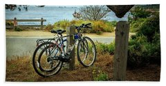 Point Lobos Bicycles Beach Towel by Craig J Satterlee