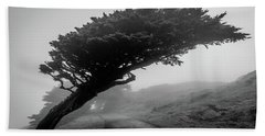 Point Reyes Fog Black And White Beach Sheet