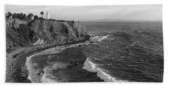 Point Vicente Lighthouse Palos Verdes California - Black And White Beach Towel